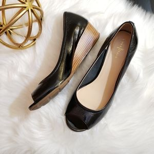 Cole Haan | 9 NIB black patent leather peep toe